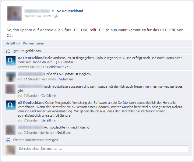 Android 4.2.2-Update für HTC One mit O2 Branding- Facebook - O2