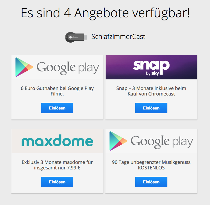 Chromecast: 6 Euro Google Play Film Guthaben