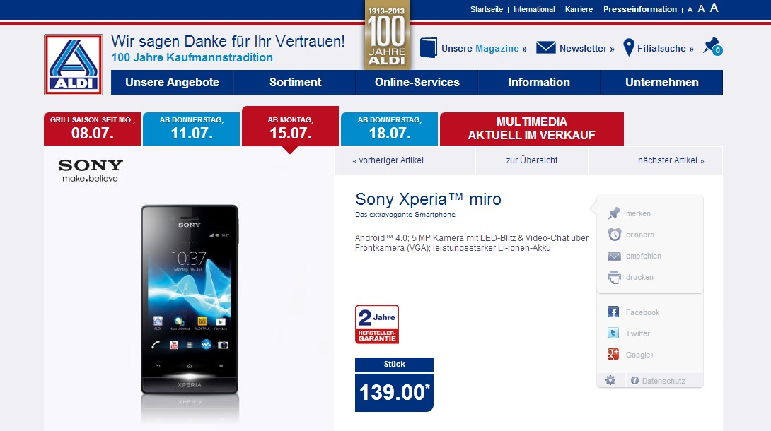 sony xperia miro bei aldi nord am 15 juli f r 139 euro. Black Bedroom Furniture Sets. Home Design Ideas