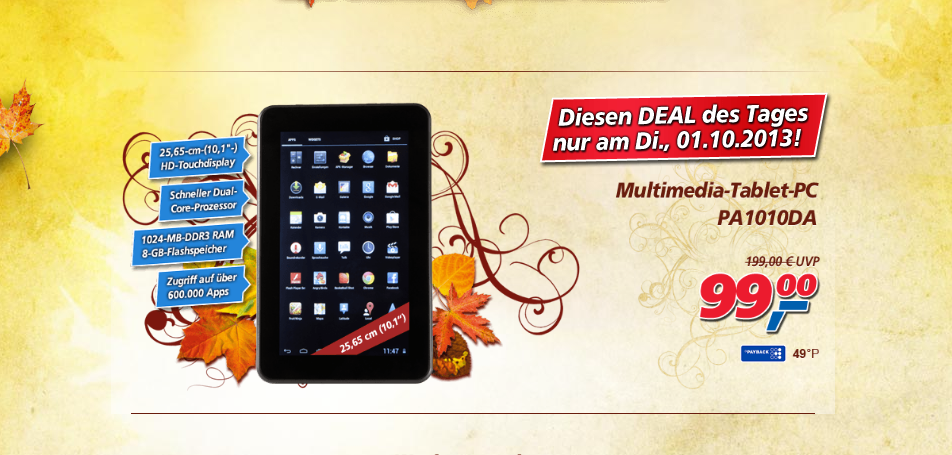 Jay-Tech Android Tablet nur heute für 99 Euro bei Real,-