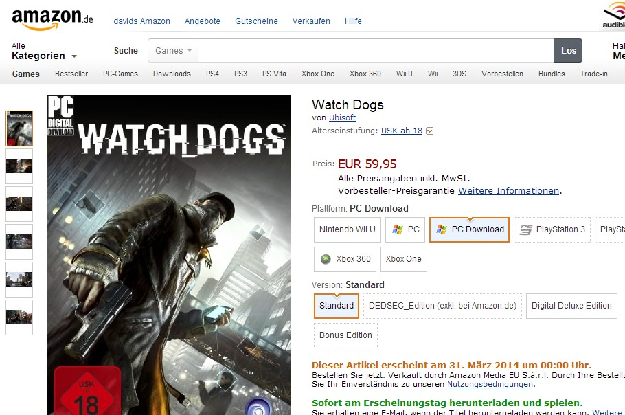 Watch Dogs: PC-Download Version erscheint am 31. März?