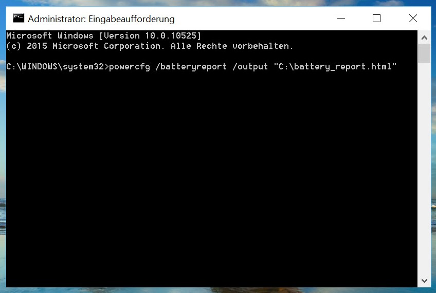 Windows 10: Akkuinformationen - CMD