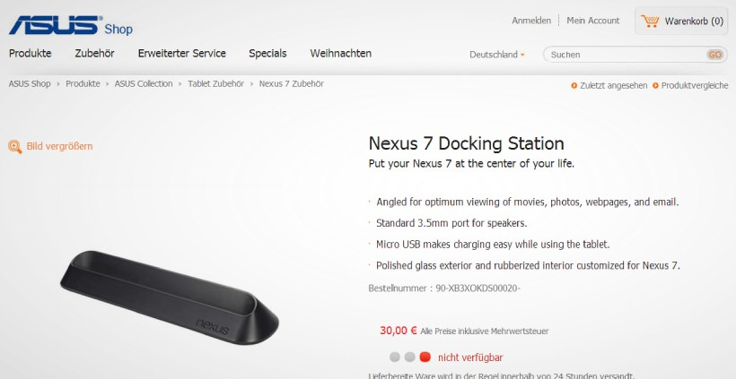Asus Shop listet Nexus 7 Dockingstation