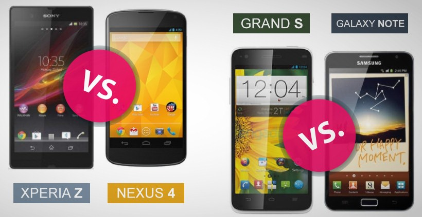 Kampf der Giganten Sony Xperia Z vs. Nexus 4 und ZTE Grand S vs. Samsung Galaxy Note
