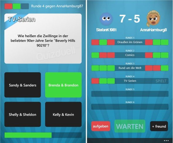Quizduell für Windows Phone