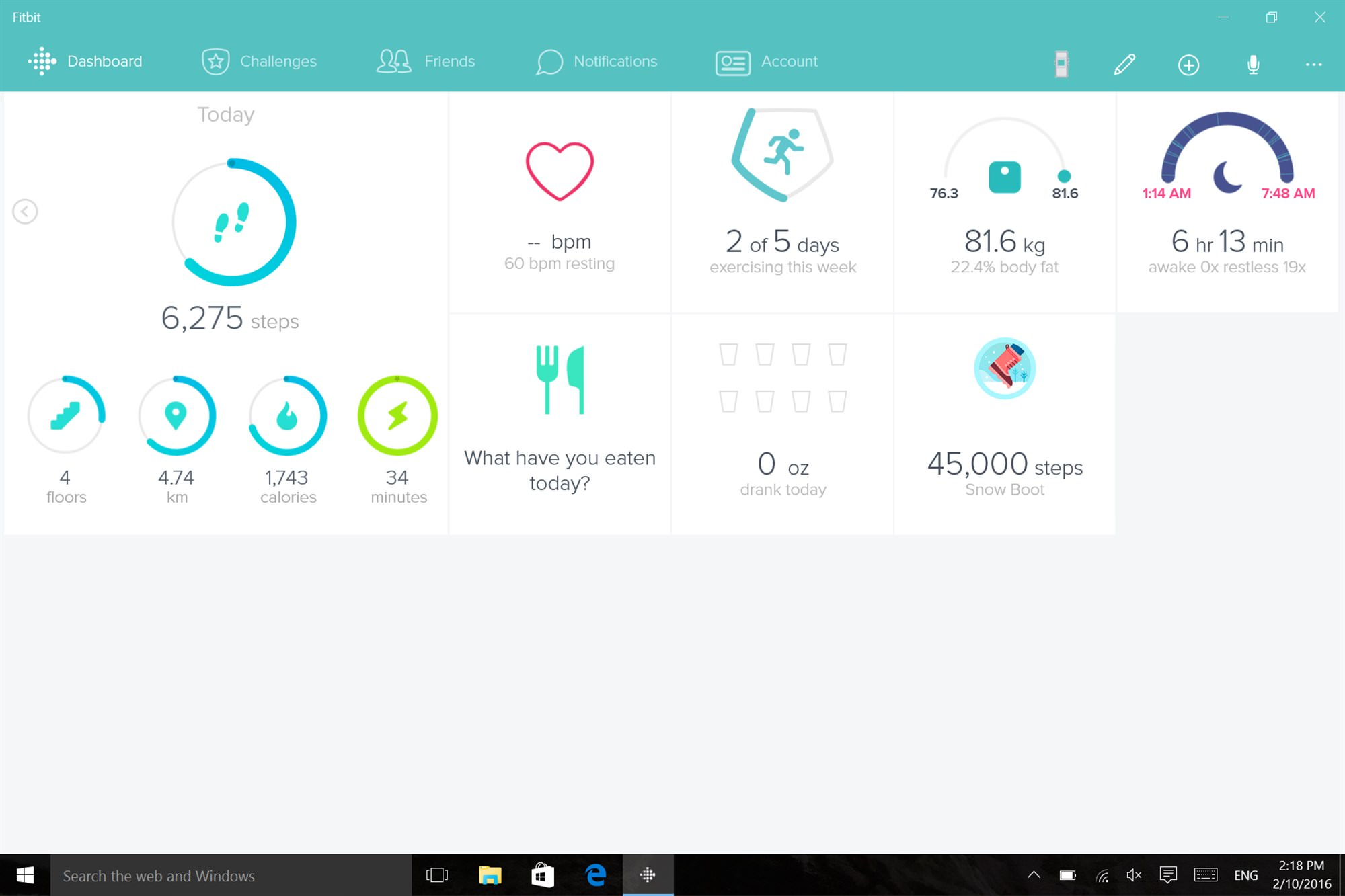 Fitbit Charge HR - Screenshot PC