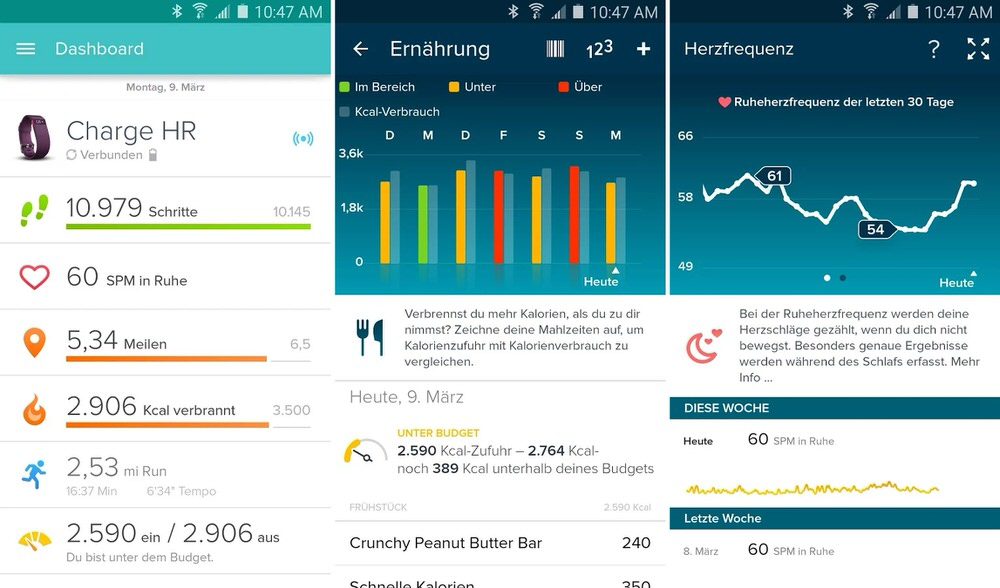 Fitbit Charge HR - Screenshots Android-App