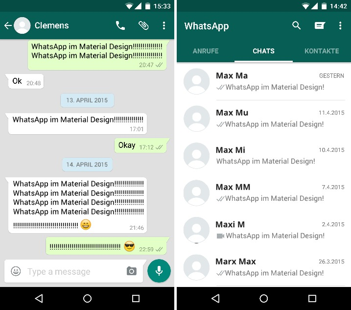 WhatsApp im Android Material - Screenshot